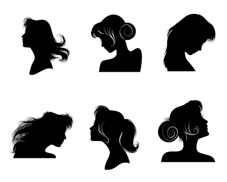 illustration of six silhouettes of womens hairstyles Ilustração