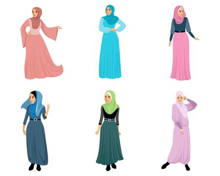 Vector illustration of set of six muslim women Ilustração