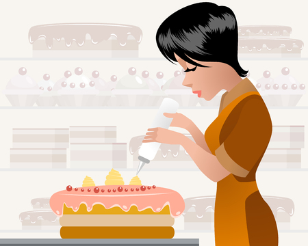 Vector illustration of a female pastry chef decorating cake