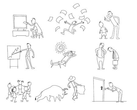 Vector illustration of set of nine different plots Ilustração