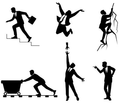 Vector illustration of six businessmen in action Ilustração
