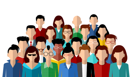 Vector illustration of a faceless community of people Ilustração