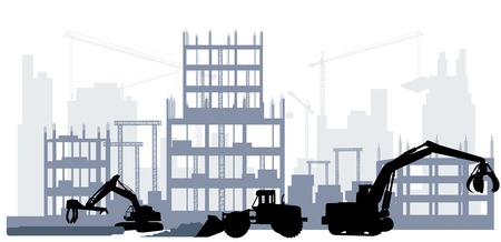 Vector illustration of the silhouette of a construction site