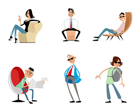 Vector illustration of six funny trendy characters