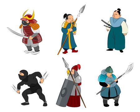 Vector illustration of set of samurai and ninja