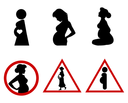 Vector illustration of six icons of pregnant women