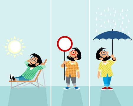 Vector illustration of three hipsters in different situations