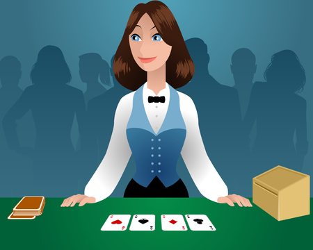 Vector illustration of a female croupier in a casino