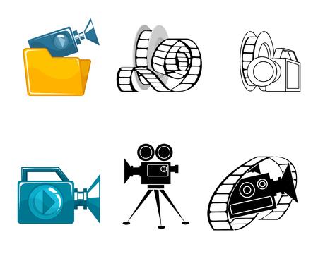 Vector illustration of six icons for video clips Ilustração