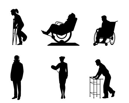 Vector illustration of six silhouettes of sick people Ilustração