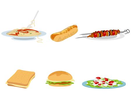 Vector illustration of a set of six food options Ilustração