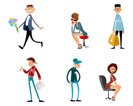 Vector illustration of a set of fashionable funny characters
