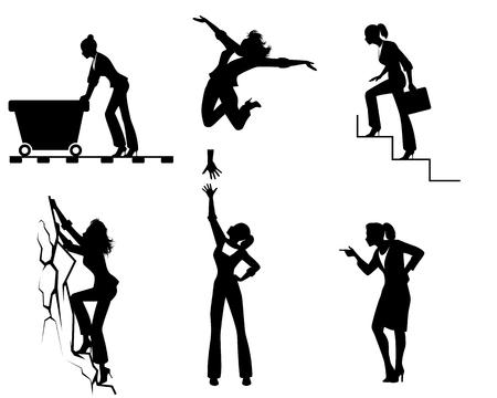 Vector illustration of six businesswomen in action.