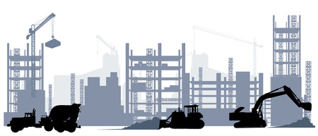 Vector illustration of silhouette of construction and machine equipment