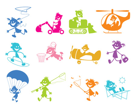 Vector illustration of set of painted playing children
