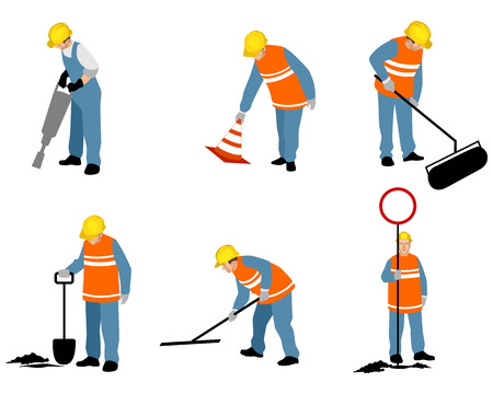 Vector illustration of set of six road workers.