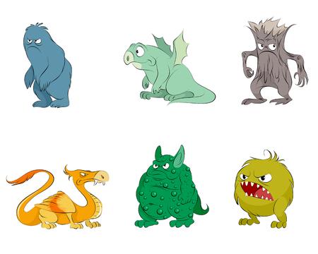 Vector illustration of set of six fairy monsters. Ilustração