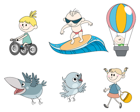 Vector illustration set of six childrens characters