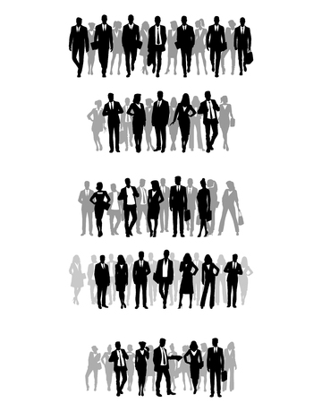 Vector illustration of silhouettes of several groups of businessmen.