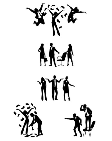 Vector illustration of silhouettes of businesspeople in action Ilustração