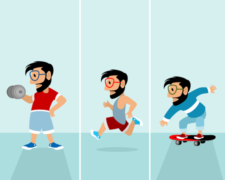 Vector illustration of set of three sports hipsters