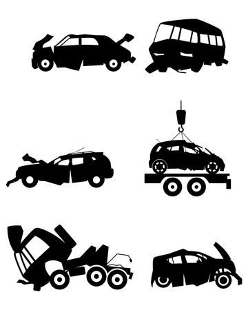 Vector illustration of car silhouettes after an accident
