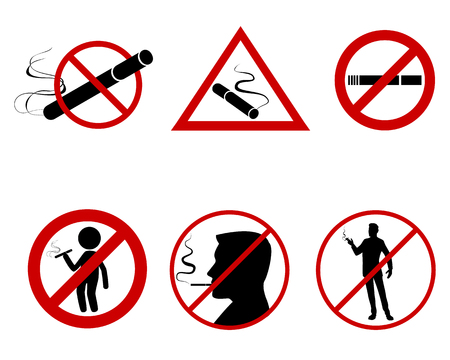 Vector illustration of icon set do not smoke Ilustração