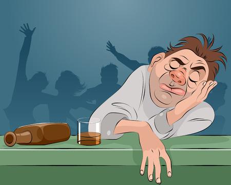 Vector illustration of a man sleeping in bar
