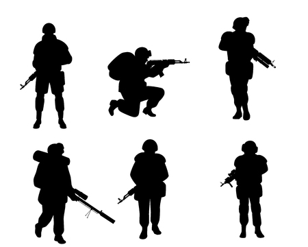 Vector illustration of six silhouettes of soldiers