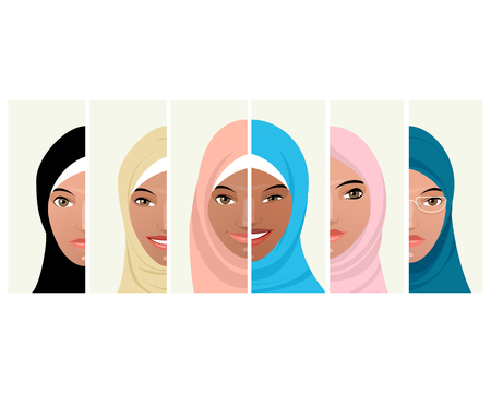Vector illustration of six faces of Muslim women Vectores