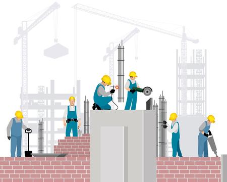 Vector illustration of six builders on a construction site Ilustração