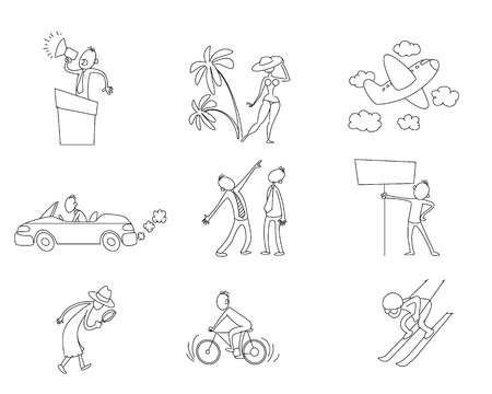 Vector illustration of set of nine different situations