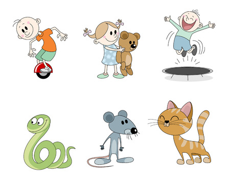 Vector illustration of a set of six childrens characters