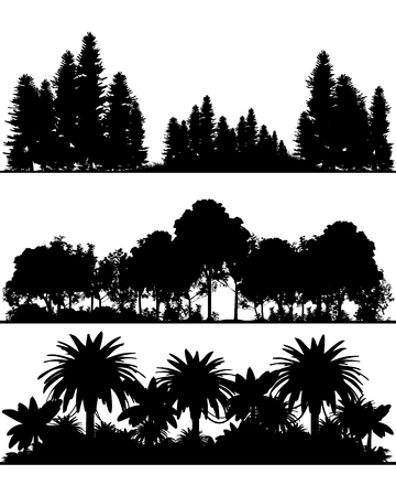 Vector illustration of three different silhouettes of the forest