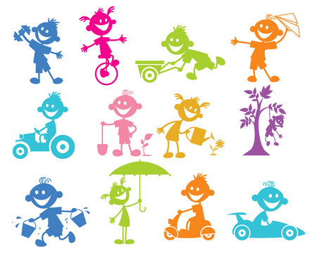 Vector illustration of set of playing children
