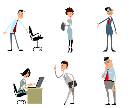 Vector illustration of set of  funny business characters