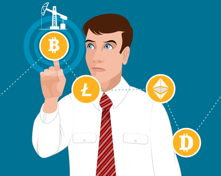 Vector illustration of the concept of cryptocurrencies
