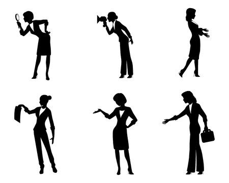 Vector illustration of six businesswomen in action