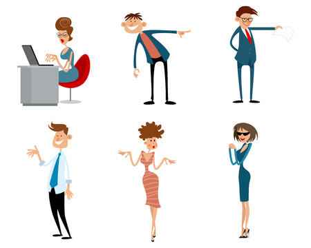Vector illustration of  funny business characters in action Ilustração