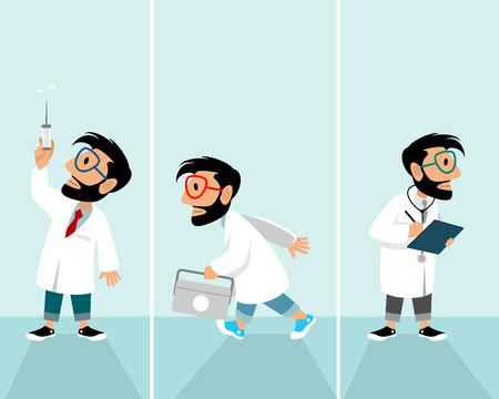 Vector illustration of hipster in medical situations Ilustração