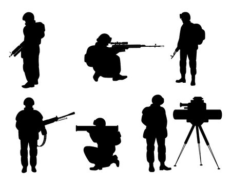 Vector illustration of six silhouettes of soldiers with weapons