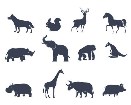 Vector illustration of set of animal icons silhouettes Ilustração