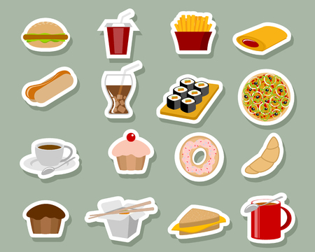 Vector illustration of fast food icons on blue background