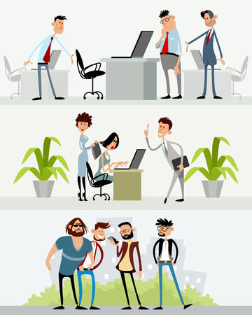 Vector illustration of three scenes with different characters Ilustração