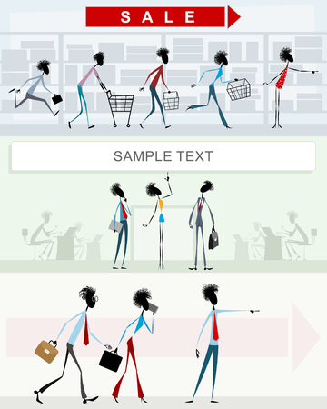 Vector illustration of characters in different situations Ilustração