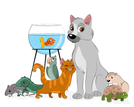Vector illustration of a group of pets
