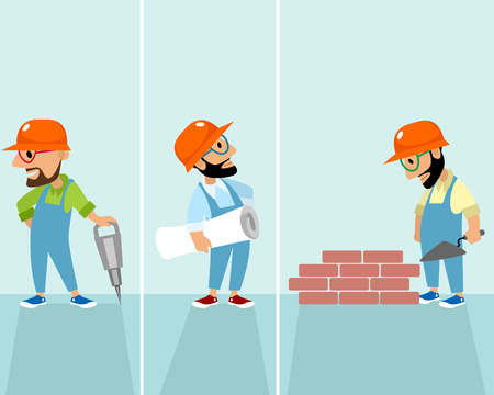 Vector illustration of a set of hipsters builders Stock Illustratie