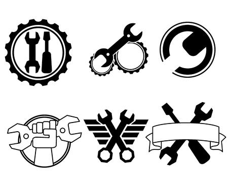 Vector illustration of six repair shop logos Ilustração