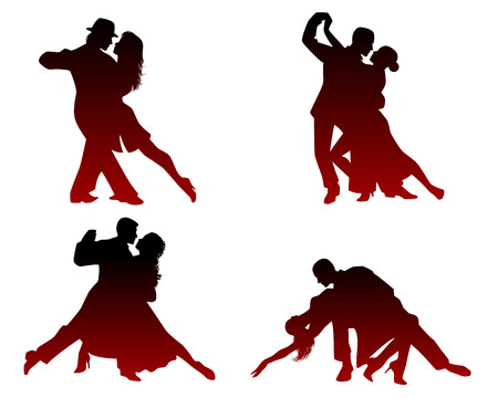 Vector illustration of silhouettes of four dancing couples Illustration