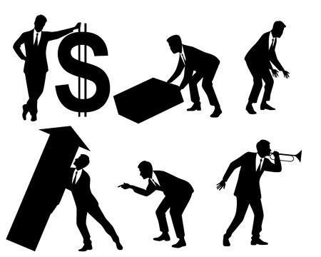 Vector illustration of six businessmen in action Çizim